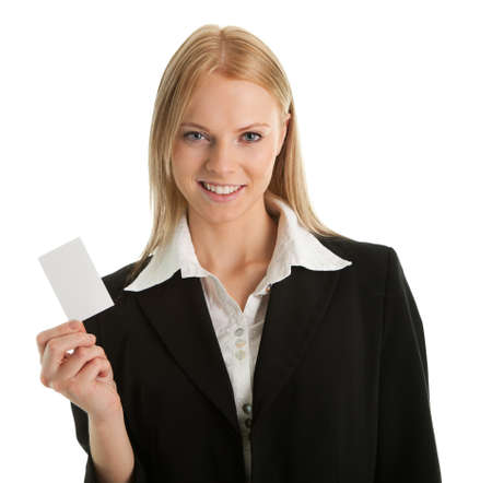 Businesswoman holding blank card Stock Photo - 8856634