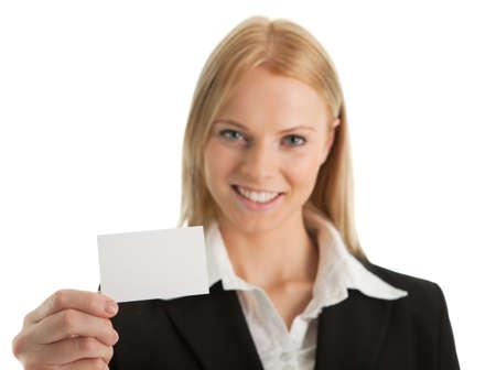 Businesswoman holding blank card Stock Photo - 8856751