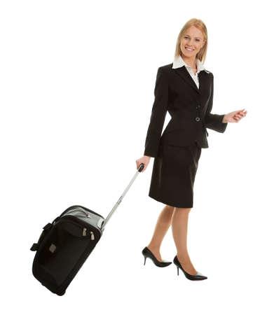 viajero: Alegres empresarias con bolsa de viaje