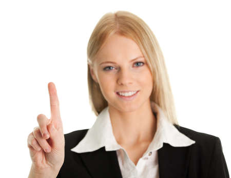 Business woman touching the screen with her finger Stock Photo - 8856753