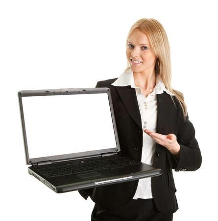 Business woman presenting laptopn photo