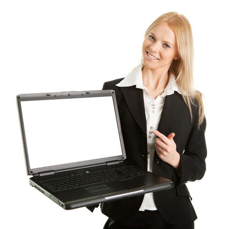 Business woman presenting laptopn Stock Photo - 8856709