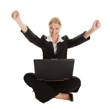Business woman celebrating success photo