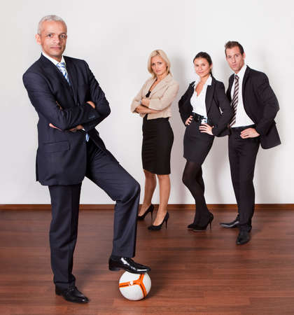 Strong competitive business team photo