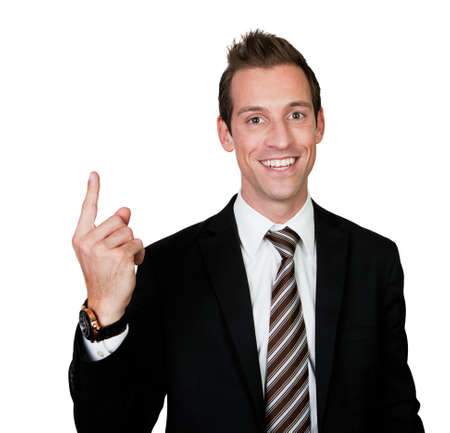 Businessman with finger pointing up Stock Photo - 8856757