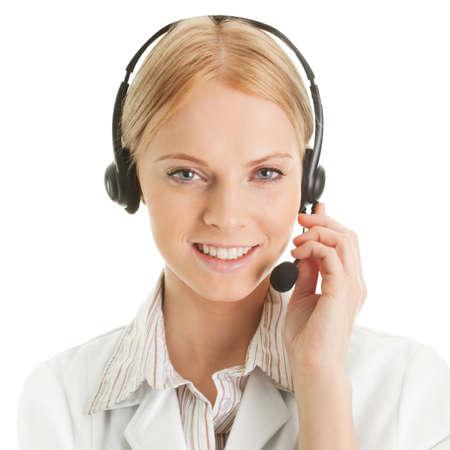 service center: Cheerfull call center operator Stock Photo