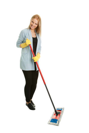 Cheerful woman having fun while cleaning Stock Photo - 8857813