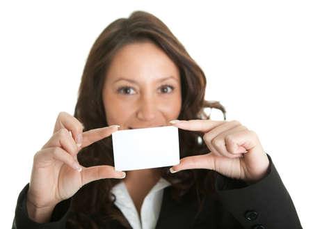 businesswoman card: Businesswoman holding blank card