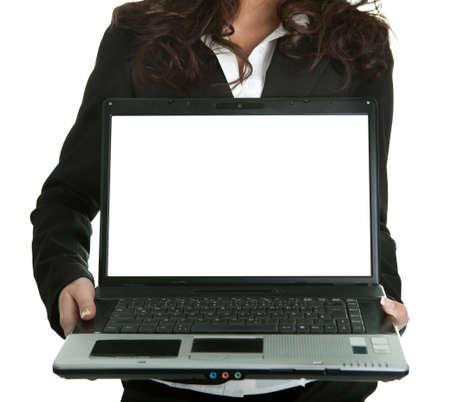 Business woman presenting laptopn Stock Photo - 8961474