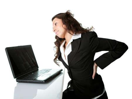 Business women having back pain. photo