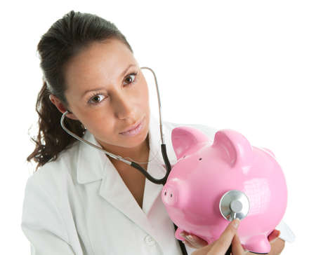 doctor holding money: Taking care of savings