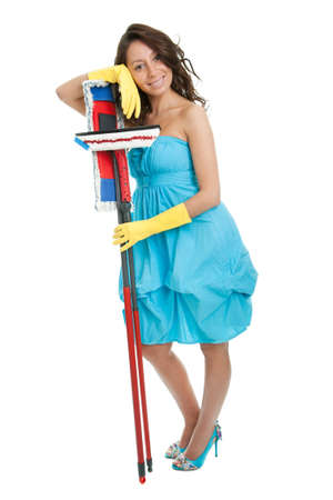 floor standing: Cheerful woman relaxing after cleaning