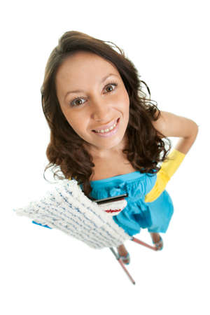 Cheerful woman with cleaning mops photo