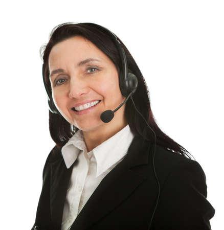 Cheerfull call center operator photo