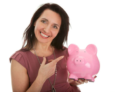 Beautiful young woman saving money Stock Photo - 8961541