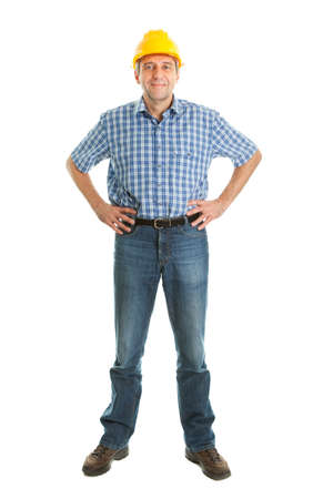 full length: Worker wearing hard hat Stock Photo