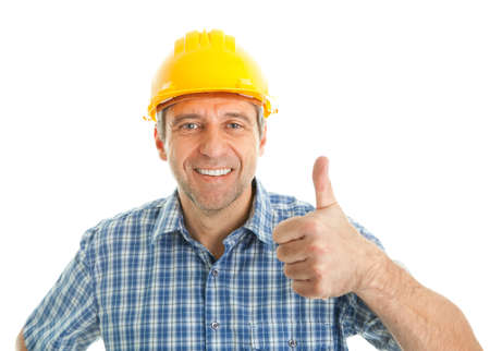 workman: Worker wearing hard hat Stock Photo