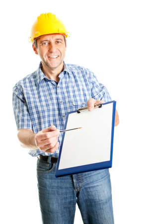 home safety: Technician offering to sign papers Stock Photo