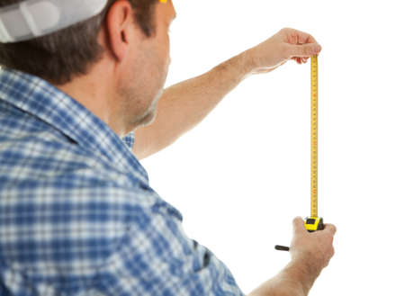 Confident worker measuring dimensions photo