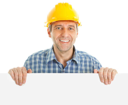 construction paper: Confident worker presenting empty board