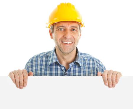 Zuversichtlich Worker pr�sentiert leere board