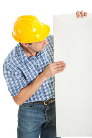 Confident worker presenting empty board photo