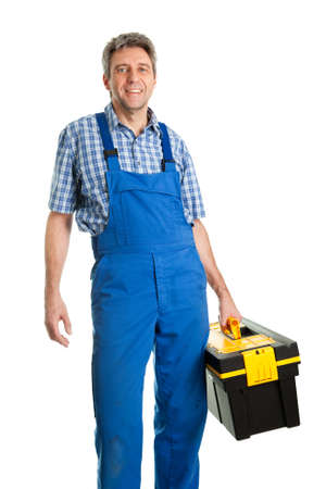 service man: Confident service man with toolbox