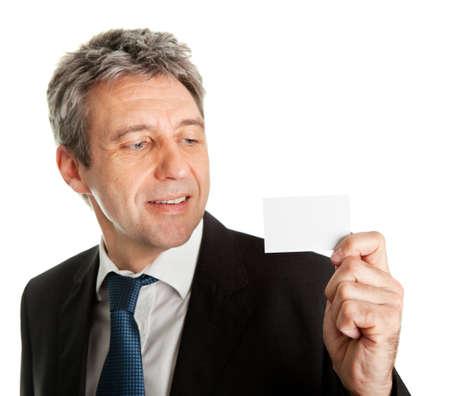 Businessman holding blank card Stock Photo - 9098616