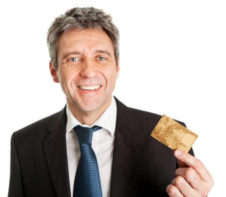 man holding money: Businessman holding credit card
