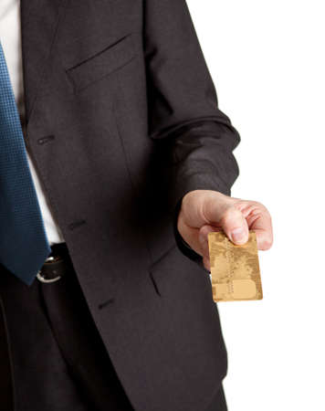 Close-up of businessman holding credit card photo