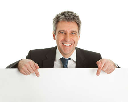 Confident businessmen presenting empty board Stock Photo - 9098586