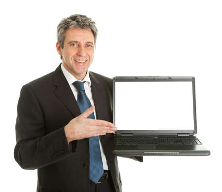 Business man presenting laptopn photo