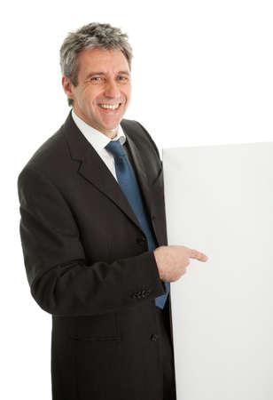 Confident businessmen presenting empty board photo