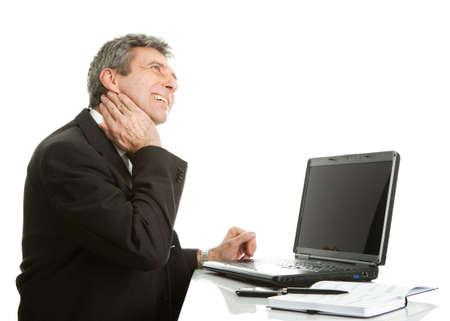 Senior business men having neck pain photo