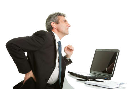 senior man on a neck pain: Senior business men having back pain Stock Photo
