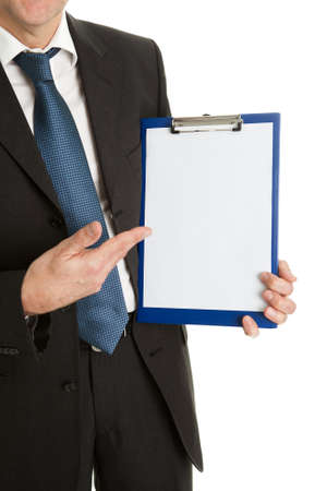 Confident businessmen presenting empty document photo