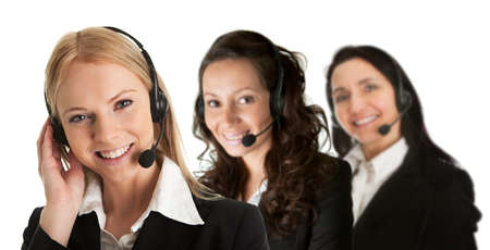 customer assistant: Cheerfull call center operators Stock Photo