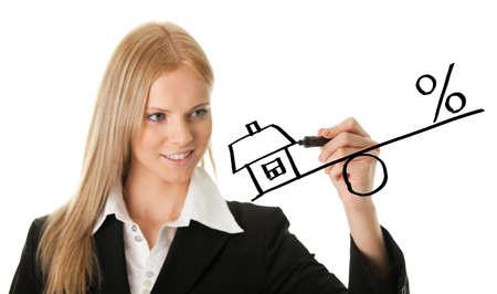 Businesswoman drawing a mortgage illustration illustration