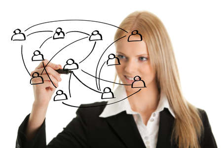 Businesswoman drawing a social network graph photo