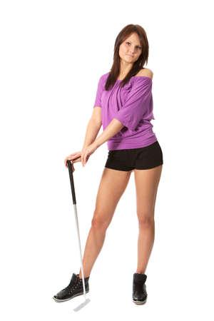 teen golf: Joven jugador de golf alegre Foto de archivo