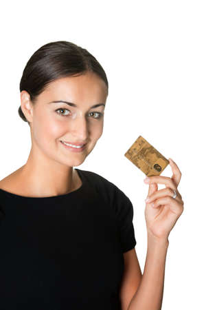 Pretty young woman with a credit card photo