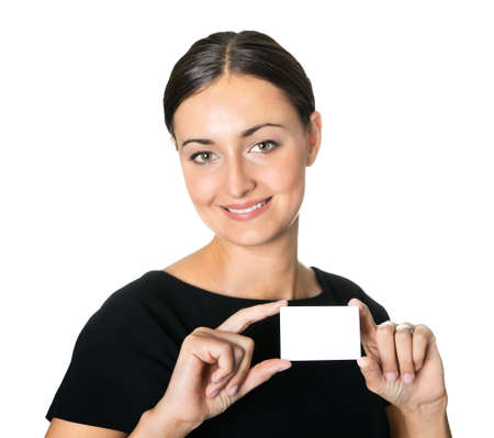 Young beautiful woman presenting her business card Stock Photo - 10694865