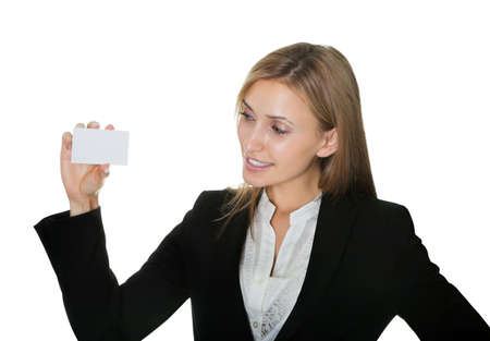 Pretty young businesswoman with a blank card Stock Photo - 10694890