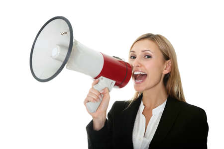 Business woman giving instructions with  megaphone Stock Photo - 10694861