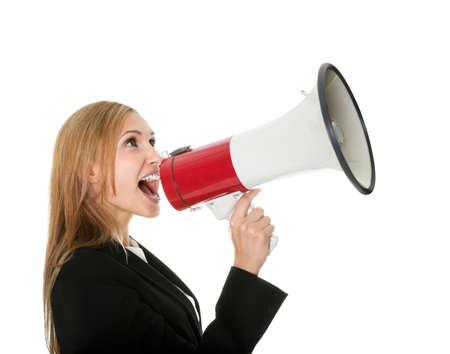 megaphone: Female executive yelling through a megaphone