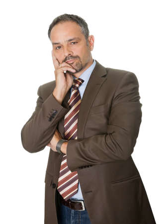 worried executive: Thoughtful  mature businessman on white background