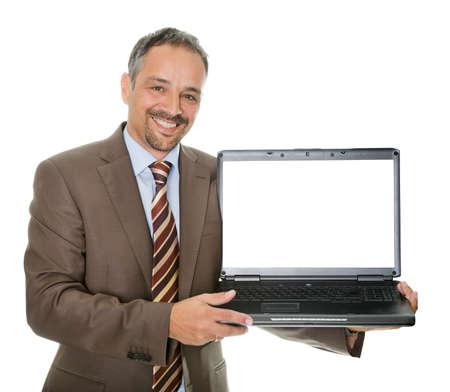 computer model: Confident marketing executive displaying a laptop
