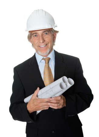 Happy professional architect holding blueprints photo