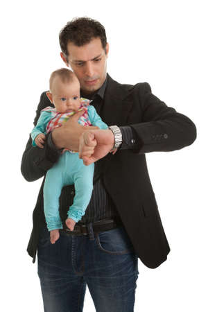 Young businessman with a little girl photo