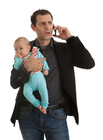 babysitter: Man juggling in being businessman and a father
